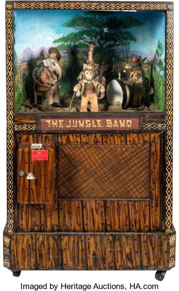 """Memorabilia:Miscellaneous, """"The Jungle Band"""" Coin-Operated Arcade Machine (c. 1930s-40s)...."""