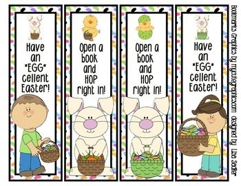 No need to go to the teacher store to purchase bookmarks for your classroom - just print these to cardstock, cut, and they're ready to use!  Includes both Cute Easter and Religious designs. Cute Easter Bookmarks:One boy with egg basket, one girl with egg basket both read: Have an EGG cellent Easter.