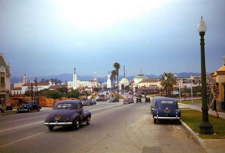Лос-Анджелес 1940-х на цветном фото
