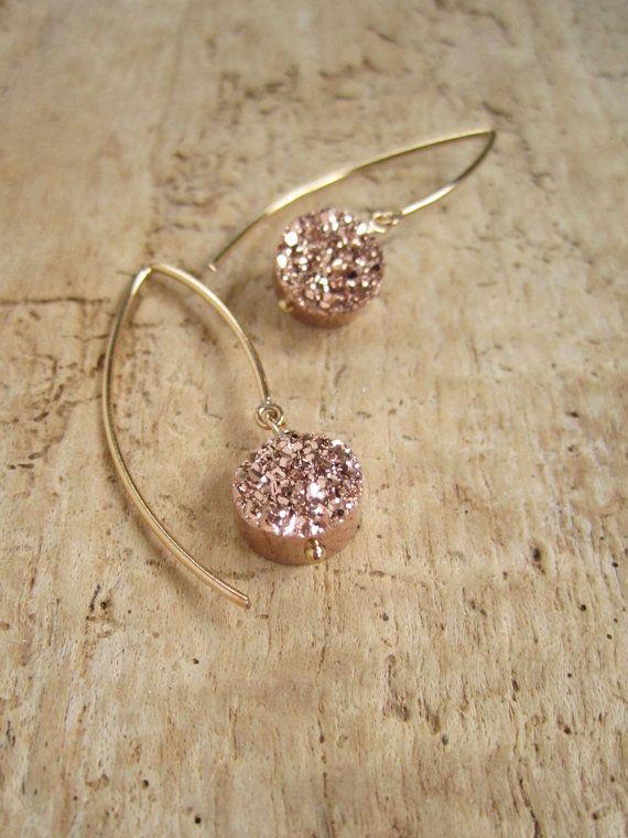 Rose Gold Druzy Earrings Titanium Drusy Quartz by julianneblumlo, $78.00