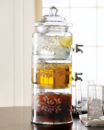 Stacked Optic-Glass Beverage Server. I would love to find a less expensive version of this.