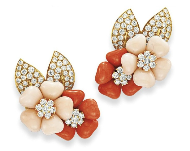Rose De Noel Coral and Diamond earrings by Van Cleef & Arpels
