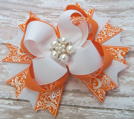 Dressy Orange And White Hair Bow Boutique by JustinesBoutiqueBows