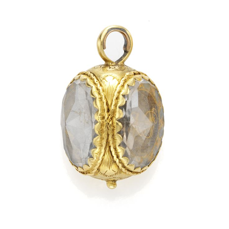Antique egg shaped Stuart crystal pendant, circa 1730