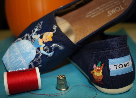 Cinderella Disney Princess Magic Kingdom Cinderella's Castle  Painted TOMS Vans or other shoes Artwork Only. Shoes not included on Etsy, $82.00