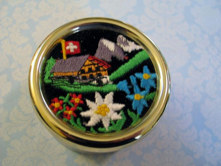 Swiss Souvenir Music Box Embroidered Edelweiss Song - Flowers Chateau Mountains #Reuge