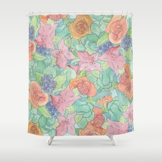 Southwestern Floral Shower Curtain roses by ArtfullyFeathered