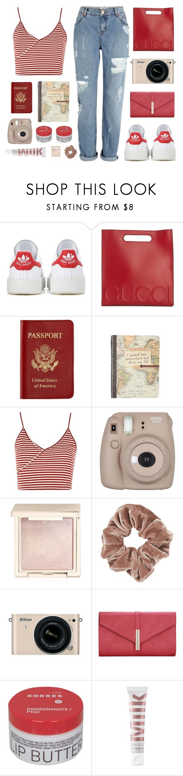 """""""Road Trip Comfort"""" by amazing-abby on Polyvore featuring adidas Originals, Gucci, Passport, Topshop, Fujifilm, Jouer, Nikon, Korres, MILK MAKEUP and River Island"""
