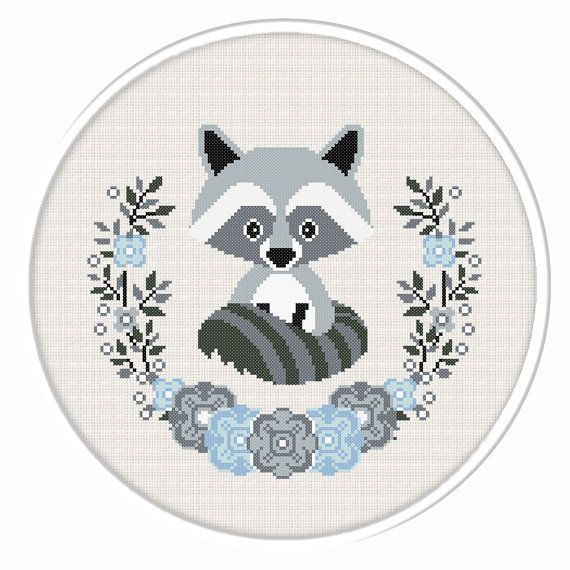 BOGO FREE. Raccoon cross stitch pattern. (#P- 1281). Baby Raccoon Cross Stitch, Nursery Cross Stitch, Animal cross stitch pattern