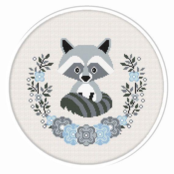 Buy 2 get 1 free. Raccoon cross stitch by CrossStitchByGlazov