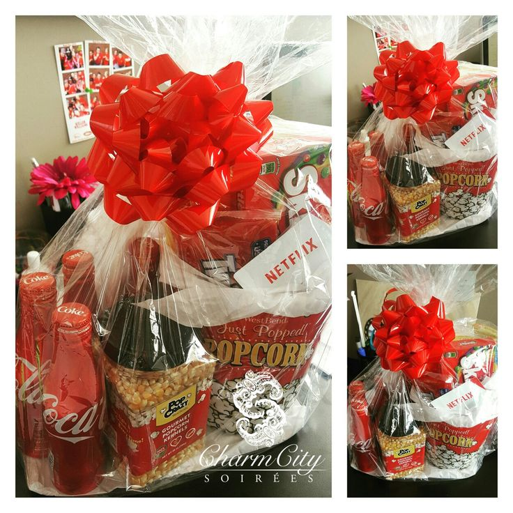 Netflix & Chill Basket   Fun idea, I made this for a home closing gift, after all the hard work of going through buying a home, the first night should be a breeze.  Fill an oversized popcorn bucket with movie theatre favorites like Twizzler, M&M's, Skittles, Goobers and more. Add a Netflix gift card, even a Pizza gift card for dinner delivery, Coke, popcorn and there you have it! Instant night of fun!