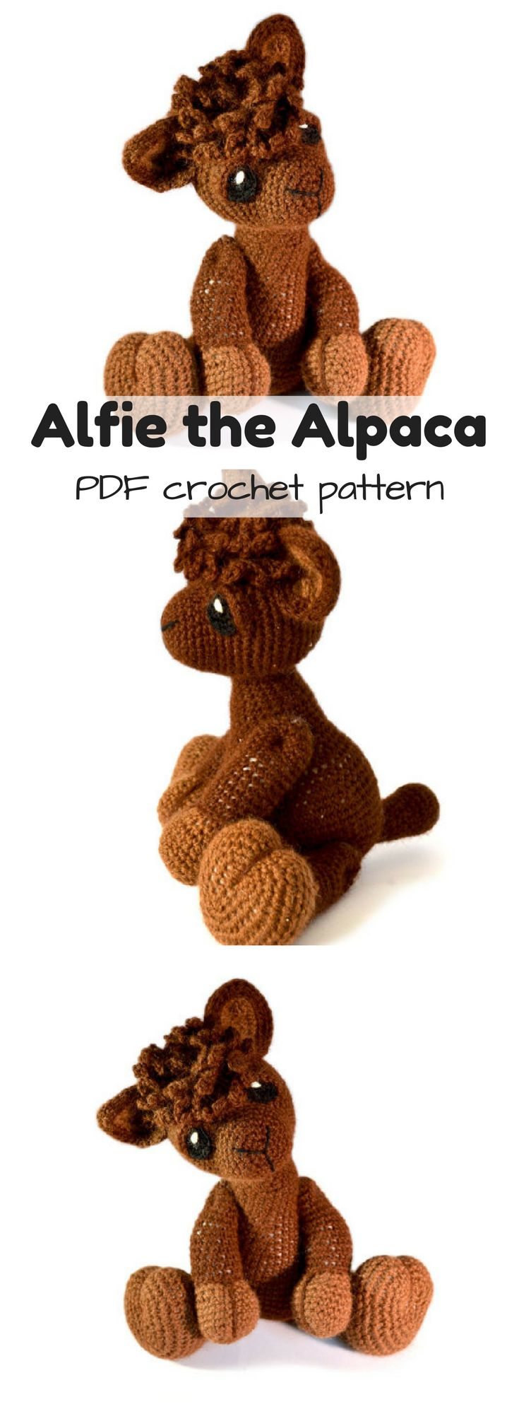Alfie the Alpaca pdf crochet pattern for this unique stuffed animal toy. Love that you can just download patterns instantly! Would be neat made in alpaca yarn! #etsy #ad