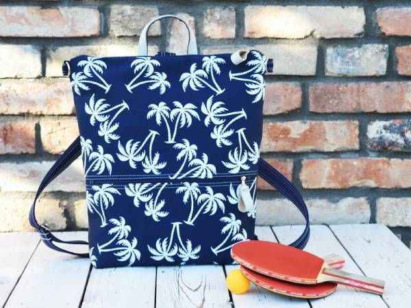 Handmade Canvas Backpack - Palm Trees Design