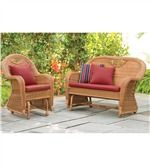 Prospect Hill Outdoor Resin Wicker Furniture Glider Set - Chair Glider And Love Seat Glider   Benches & Chairs