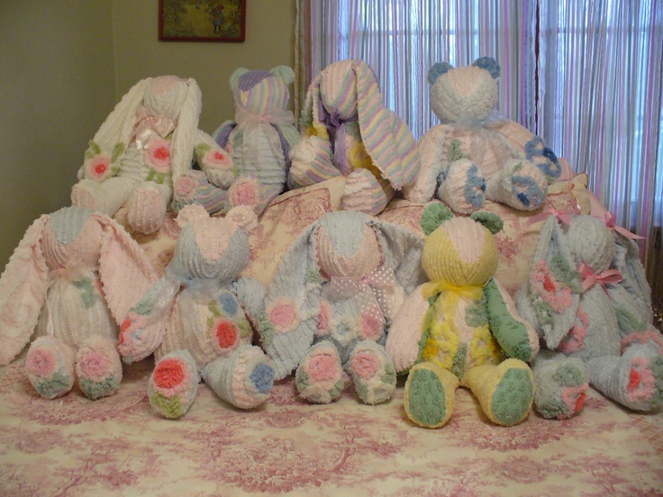 Chenille bears and bunnies.