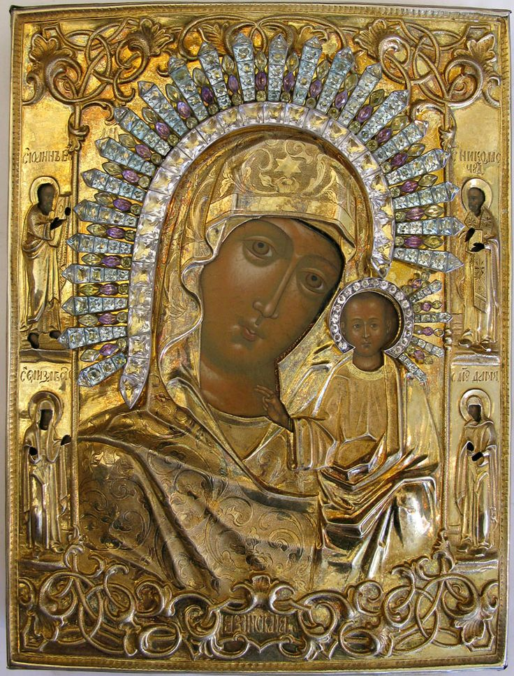 Russian Icon - Our Lady of Kazan with four Border Saints - St. John of Parmos, St. Elizabeth, St. Nicholas of Myra, and St. Martyr Daria of Rome in gilt