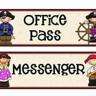 Pirate Passes (Love These!) This classroom passes set includes Nurse's Office Messenger Girls' Bathroom (2) Boys' Bathroom (2) Office Media Center Library (2) and 2 bl...