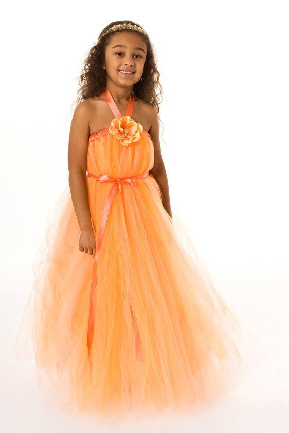 Flower Girl Tutu Dress - Orange - Sun Kissed - 5-6 Youth Girl by Cutie ...