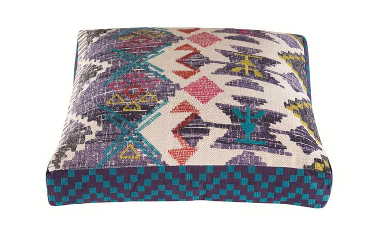 Azteco Large Floor Cushion Blue by Kas - Tree House Edition from Harvey Norman NewZealand