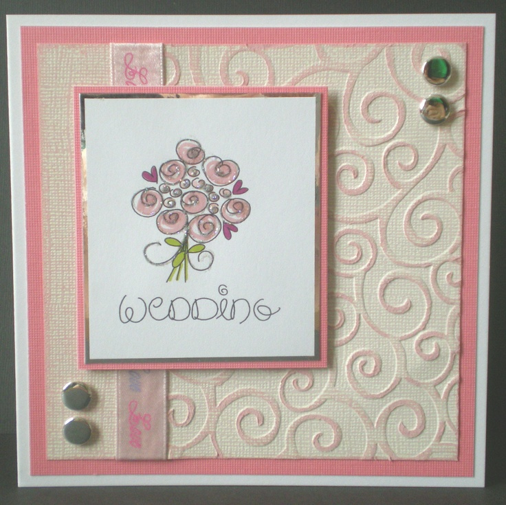handmade wedding card, love, pink bouquet, embossed card, blank, romantic, hand coloured. £2.50, via Etsy.