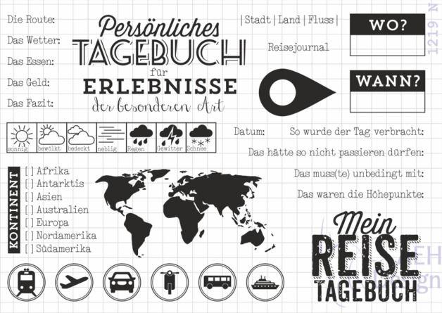 Sprüche & Slogans - Stempelset REISETAGEBUCH - ein Designerstück von AEH-Design bei DaWanda