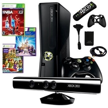 XBOX 360 Slim 4GB Kinect Bundle with Kinect Sensor, 3 Games and Accessories