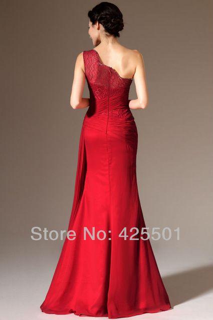Vermelho escuro longo vestido de festa noite elegante 2014 Vestidos de um ombro até o chão especial ocasião Vestidos Vestidos de noite