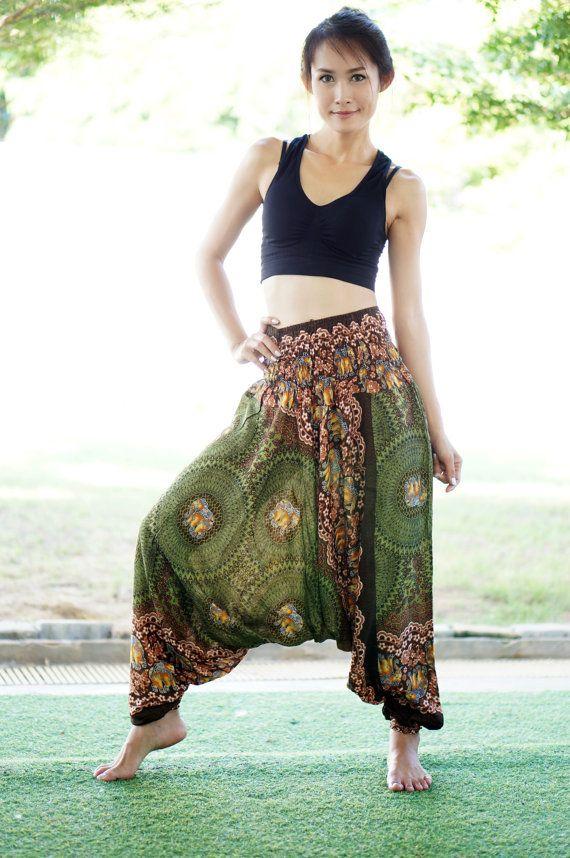 Thaise olifanten Harem broek Rayon broek Boho Strenchy door MaeYing