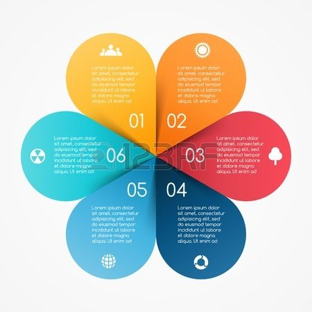 Vector circle color leaves infographic. Template for diagram, graph, presentation and chart. Business concept with 6 options, parts, steps or processes. Abstract background.