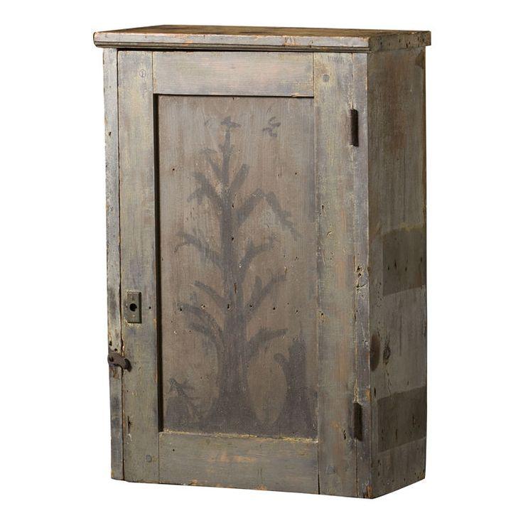 Primitive Painted Hanging Cupboard, c. 1830-1840,