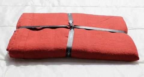 Harmony - Nappe en lin lavé Nais Rouge Tomette - Home Beddings and Curtains