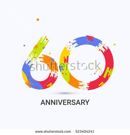 60 Years Anniversary, Splash Colored Logo Celebration Isolated on White Background