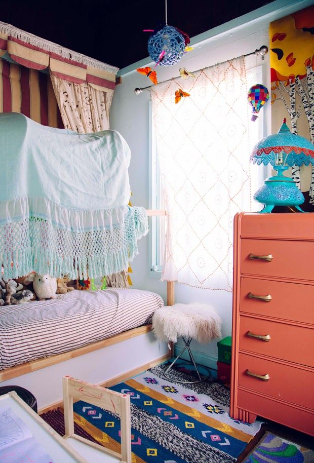 the boo and the boy: eclectic kids' rooms  dresser color (burnt coral?) and hardware - maybe refinish Lil's dresser?