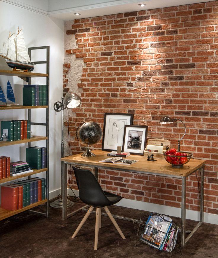 Domowe biuro w klimacie Loft Aranżacja Inne Meble/ Cegły Caprice