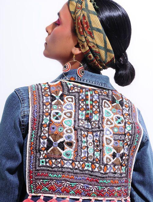 5cb15cce0f6 Blue Denim Jacket with Vintage Textile Applique | Clothing design ...