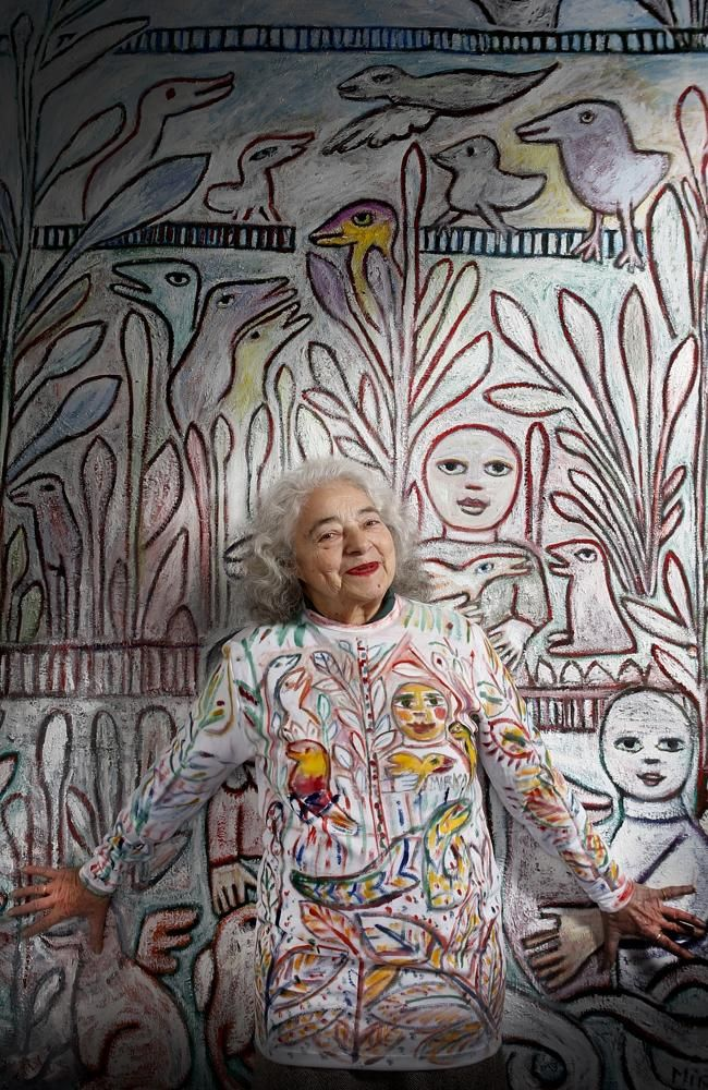Artist Mirka Mora at 87, an Australian Living Treasure. At the click, an interview with many photos of the painter and her studio