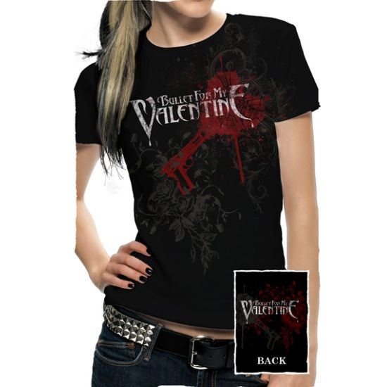 Official Bullet for My Valentine babydoll tee features pierced through design in red foil print on front and back.  Get Yours here: http://heavymetalmerchant.com/product/bullet-for-my-valentine-rnr-pierced-through-babydoll-shirt