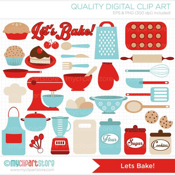 Lets Bake / Kitchen Utensils Clip Art / Digital Clipart - Instant Download