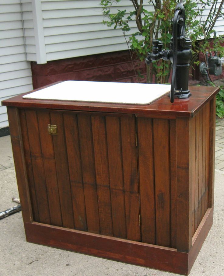 Cast Iron Farm Sink & Hand Water Pump Custom Constructed Kitchen Base Cabinet
