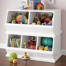 The Land of Nod   Kids' Toy Boxes: Kids Wooden Primary Stacking Storage 2 and 3 Bin in Toy Boxes
