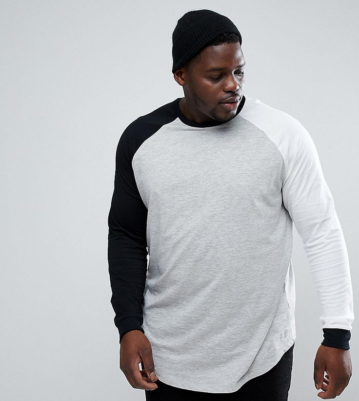 ASOS PLUS Longline 3/4 Sleeve Raglan T-Shirt With Contrast Sleeves And