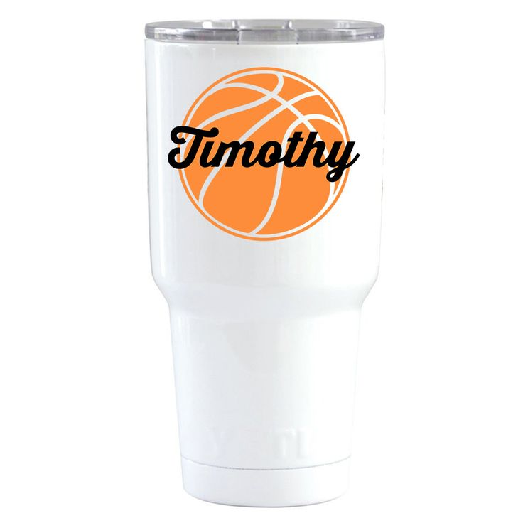 YETI 30 oz Personalized BasketBall on White Tumbler