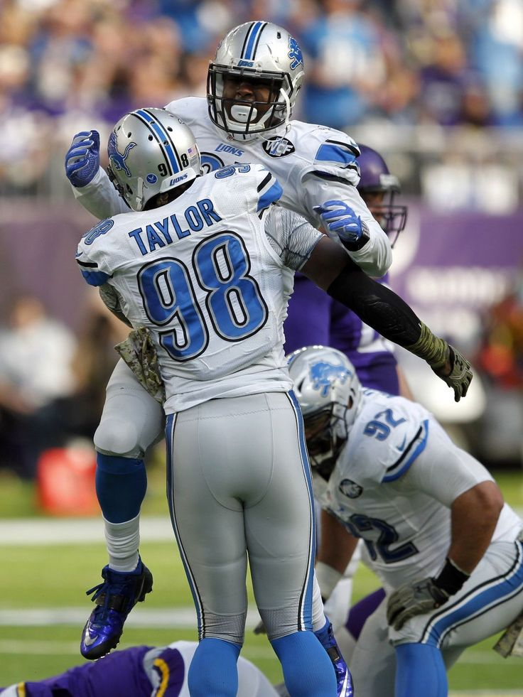Lions vs. Vikings:  22-16, Lions  -  November 6, 2016  -     Detroit Lions defensive end Kerry Hyder, top, celebrates with teammate Devin Taylor (98) after making a tackle during the first half of an NFL football game against the Minnesota Vikings, Sunday, Nov. 6, 2016, in Minneapolis.  Andy Clayton-King, Associated Press