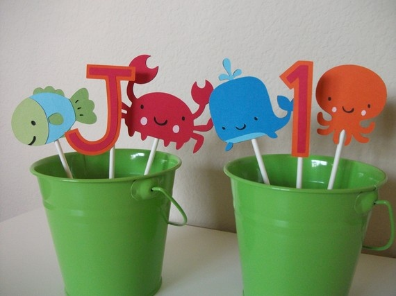 This etsy collection from sweetheartpartyshop is the basis for my son's Under the Sea birthday theme.