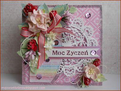 Mój świat kolorów...: Kartka z czerwonymi akcentami...