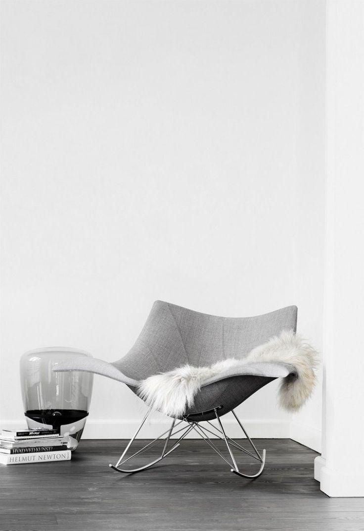 fauteuil design scandinave modèle Stingray à bascule et à piétement en métal