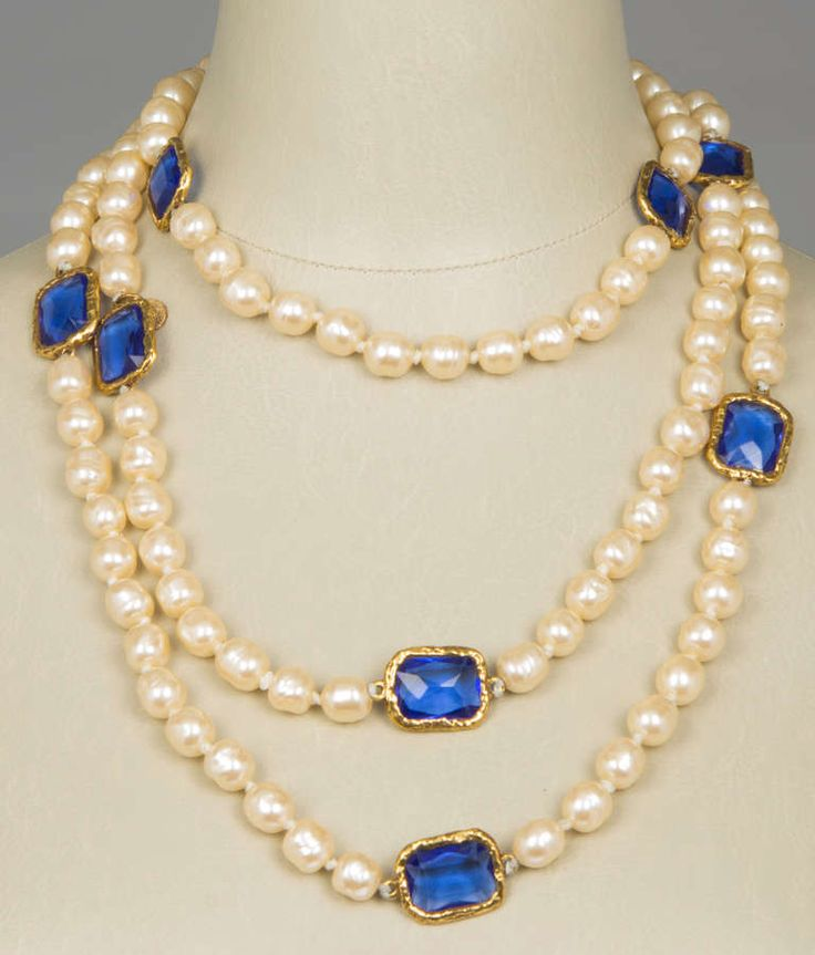 CHANEL Baroque Pearl and Gripoix Sautoir   From a unique collection of vintage beaded necklaces at https://www.1stdibs.com/jewelry/necklaces/beaded-necklaces/
