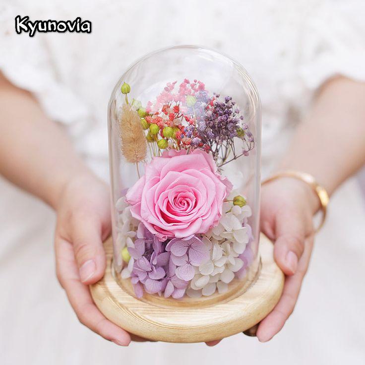 Kyunovia сладкий сохранились цветок подарок День святого Валентина подарки на день рождения натуральных сухих цветы розы подарок с Стекло крышка KY52 купить на AliExpress