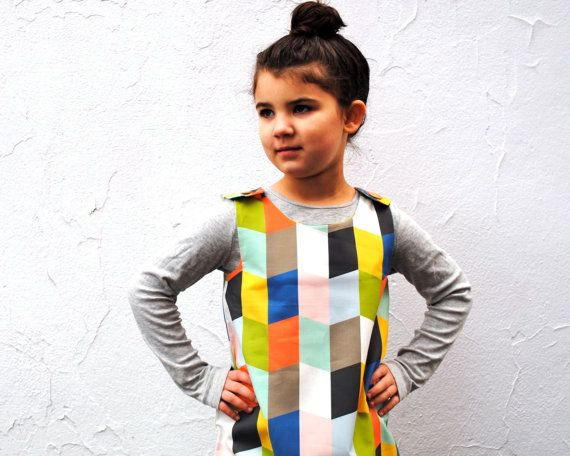 The Mabel Dress  Organic Girls Dress in Geometric by SewnNatural, $68.00