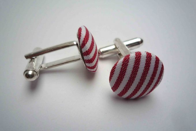 button cufflinks red and white strips by Bow Peep